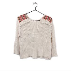 Billabong Open Knit Embroidered Sweater